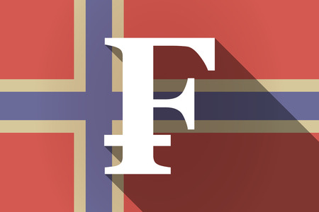 swiss insignia: Illustration of a long shadow Norway flag with a swiss franc sign Illustration