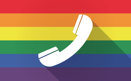 bisexual: Illustration of a long shadow Gay Pride flag with a phone