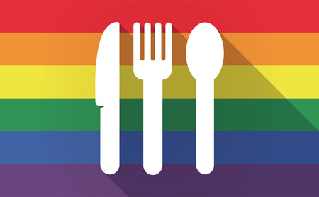 sexual orientation: Illustration of a long shadow Gay Pride flag with cutlery Illustration