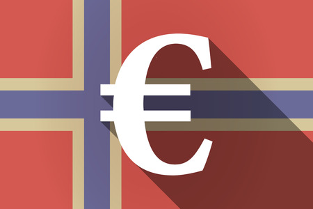 financial official: Illustration of a long shadow Norway flag with an euro sign Illustration
