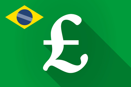 financial official: Illustration of a long shadow Brazil flag with a pound sign