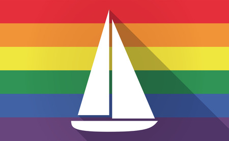 bisexual: Illustration of a long shadow Gay Pride flag with a ship Illustration