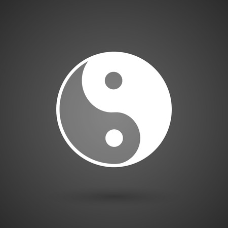 karma concept: a ying yang    white icon on a dark  background vector illustration Illustration