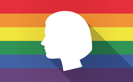 bisexual women: Illustration of a long shadow Gay Pride flag with a female head Illustration
