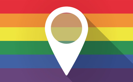 sexual position: Illustration of a long shadow Gay Pride flag with a map mark
