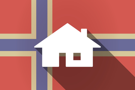 norway flag: Illustration of a long shadow Norway flag with a house