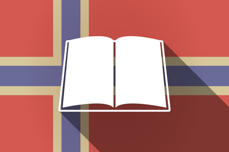 read magazine: Illustration of a long shadow Norway flag with a book Illustration