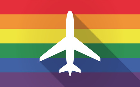sexual orientation: Illustration of a long shadow Gay Pride flag with a plane