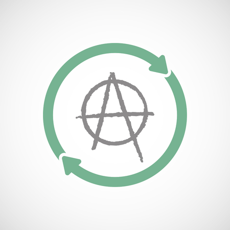 anarchy: Illustration of an isolated reuse line art sign with an anarchy sign