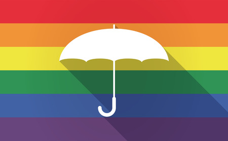 sexual orientation: Illustration of a long shadow Gay Pride flag with an umbrella
