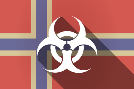 biological hazards: Illustration of a long shadow Norway flag with a biohazard sign Illustration