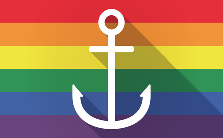 bisexual: Illustration of a long shadow Gay Pride flag with an anchor Illustration