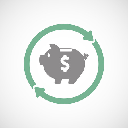 cash cycle: Illustration of an isolated reuse line art sign with a piggy bank