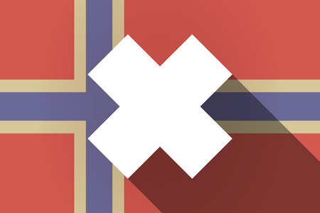 corrosive poison: Illustration of a long shadow Norway flag with an irritating substance sign