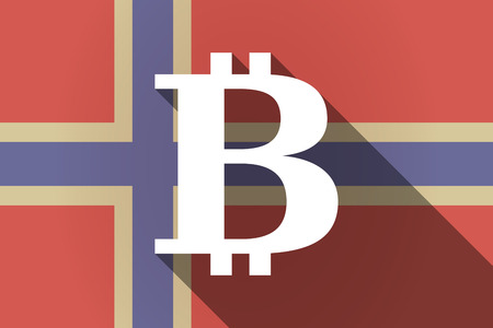 p2p: Illustration of a long shadow Norway flag with a bit coin sign