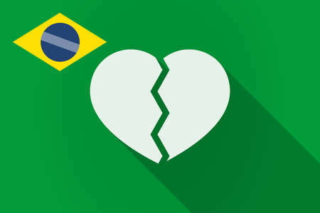 breakup: Illustration of a long shadow Brazil flag with a broken heart