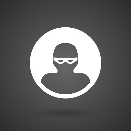 stolen: a thief   white icon on a dark  background vector illustration Illustration
