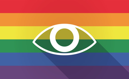 sexual orientation: Illustration of a long shadow Gay Pride flag with an eye