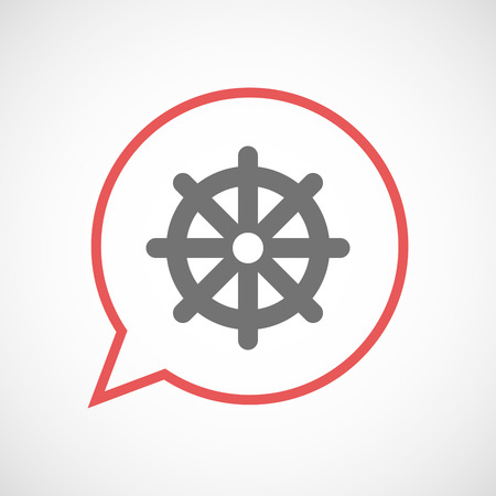 wheel of dharma: Illustration of an isolated comic balloon with a dharma chakra sign