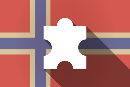 puzzle shadow: Illustration of a long shadow Norway flag with a puzzle piece