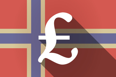 financial official: Illustration of a long shadow Norway flag with a pound sign