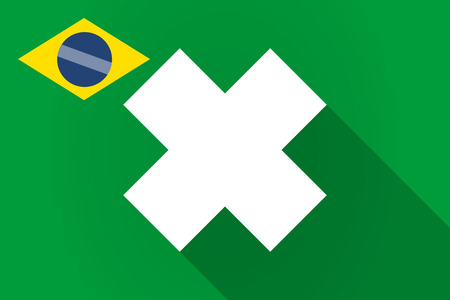 irritant: Illustration of a long shadow Brazil flag with an irritating substance sign