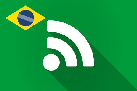 really simple syndication: Illustration of a long shadow Brazil flag with an RSS sign