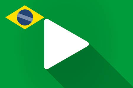 long play: Illustration of a long shadow Brazil flag with a play sign Illustration
