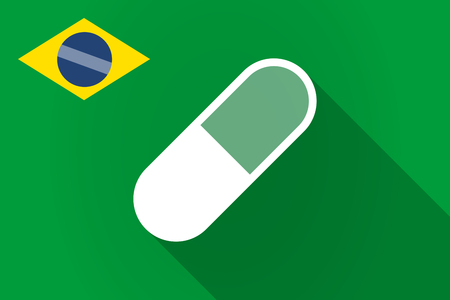 antibiotics: Illustration of a long shadow Brazil flag with a pill