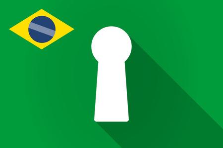 key hole: Illustration of a long shadow Brazil flag with a key hole