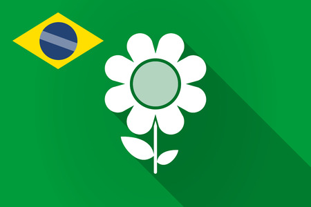 Illustration of a long shadow Brazil flag with a flower