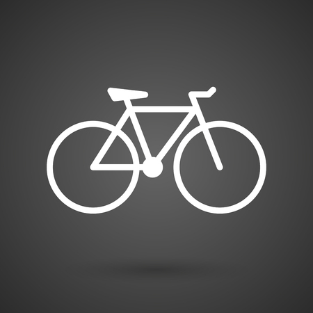pedals: a bicycle   white icon on a dark  background vector illustration