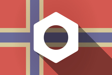 rivet: Illustration of a long shadow Norway flag with a nut