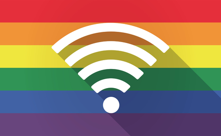 sexual orientation: Illustration of a long shadow Gay Pride flag with a radio signal sign Illustration