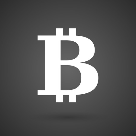 p2p: a bit coin sign    white icon on a dark  background vector illustration Illustration