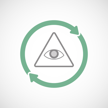 seeing: Illustration of an isolated reuse line art sign with an all seeing eye