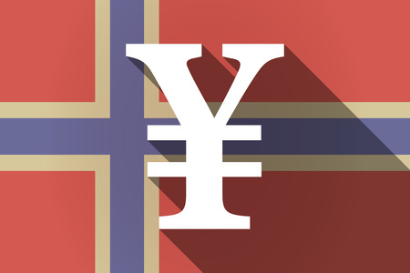 yen sign: Illustration of a long shadow Norway flag with a yen sign