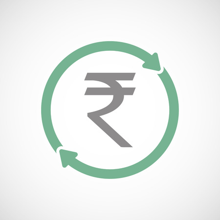 cash cycle: Illustration of an isolated reuse line art sign with a rupee sign Illustration