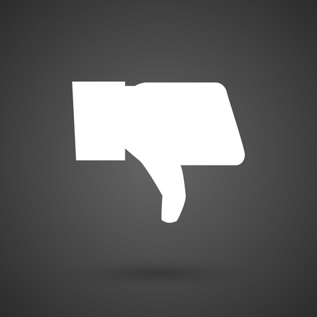 negativity: a thumb down hand   white icon on a dark  background vector illustration