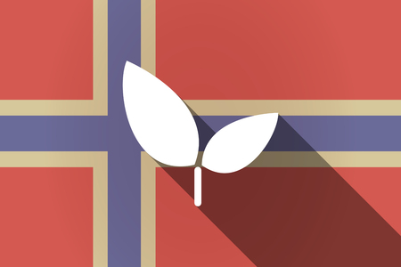 Illustration of a long shadow Norway flag with a plant