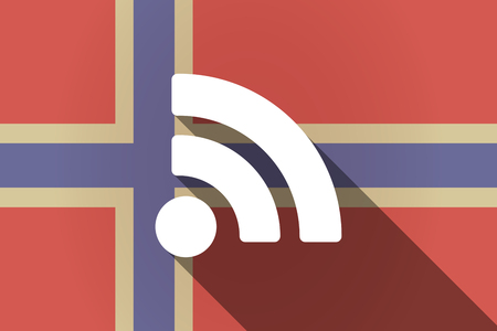 really simple syndication: Illustration of a long shadow Norway flag with an RSS sign