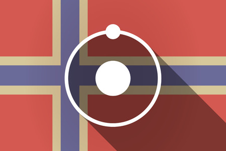 neutron: Illustration of a long shadow Norway flag with an atom