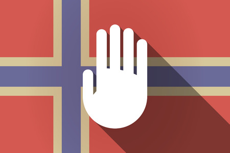 norway flag: Illustration of a long shadow Norway flag with a hand