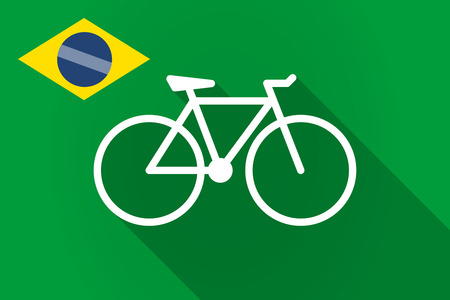 pedaling: Illustration of a long shadow Brazil flag with a bicycle Illustration