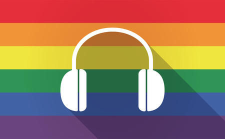 bisexual: Illustration of a long shadow Gay Pride flag with a earphones