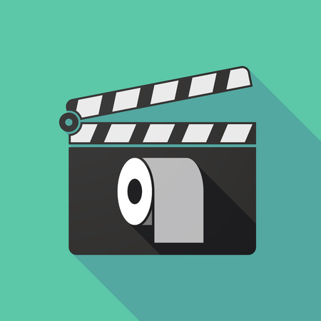 absorbent: Illustration of a long shadow clapperboard with a toilet paper roll