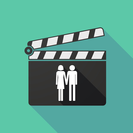 heterosexual: Illustration of a long shadow clapperboard with a heterosexual couple pictogram