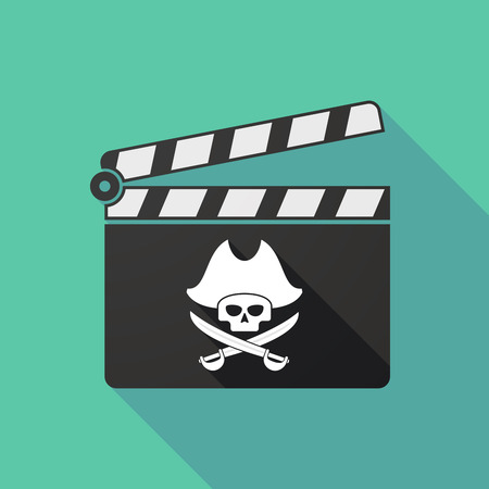 clapperboard: Illustration of a long shadow clapperboard with a pirate skull