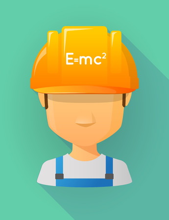 theory: Anonymous male worker avatar wearing a safety helmet that shows the Theory of Relativity formula