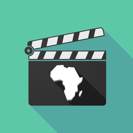 clapperboard: Illustration of a long shadow clapperboard with  a map of the african continent